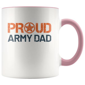 Proud Army Dad - US Army - United States Army - 11 oz 2-Color Coffee Mug for Soldier's Father - Island Dog T-Shirt Company