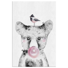 Woodland Babies Decor - Woodland Bear Cub BOY with Bubblegum & Bird - WRAPPED CANVAS - Island Dog T-Shirt Company