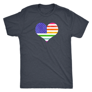 LGBTQ - Rainbow Pride US Flag Heart - Vintage Distressed Men's Short Sleeve Comfort Tee - Island Dog T-Shirt Company