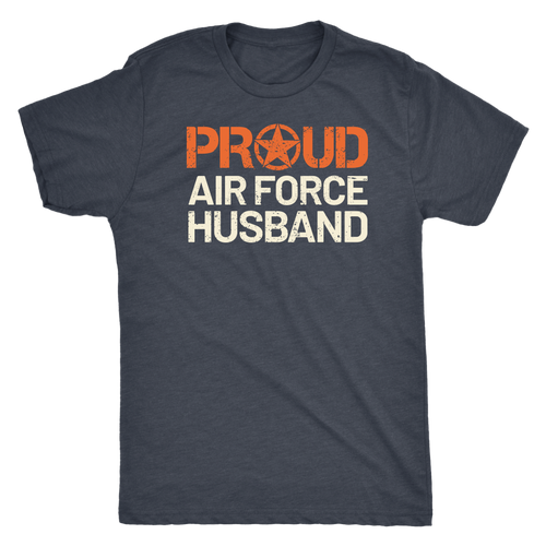 Proud Air Force Husband - Men's Ultra Soft Short Sleeve Military Hubbie Tee - Island Dog T-Shirt Company
