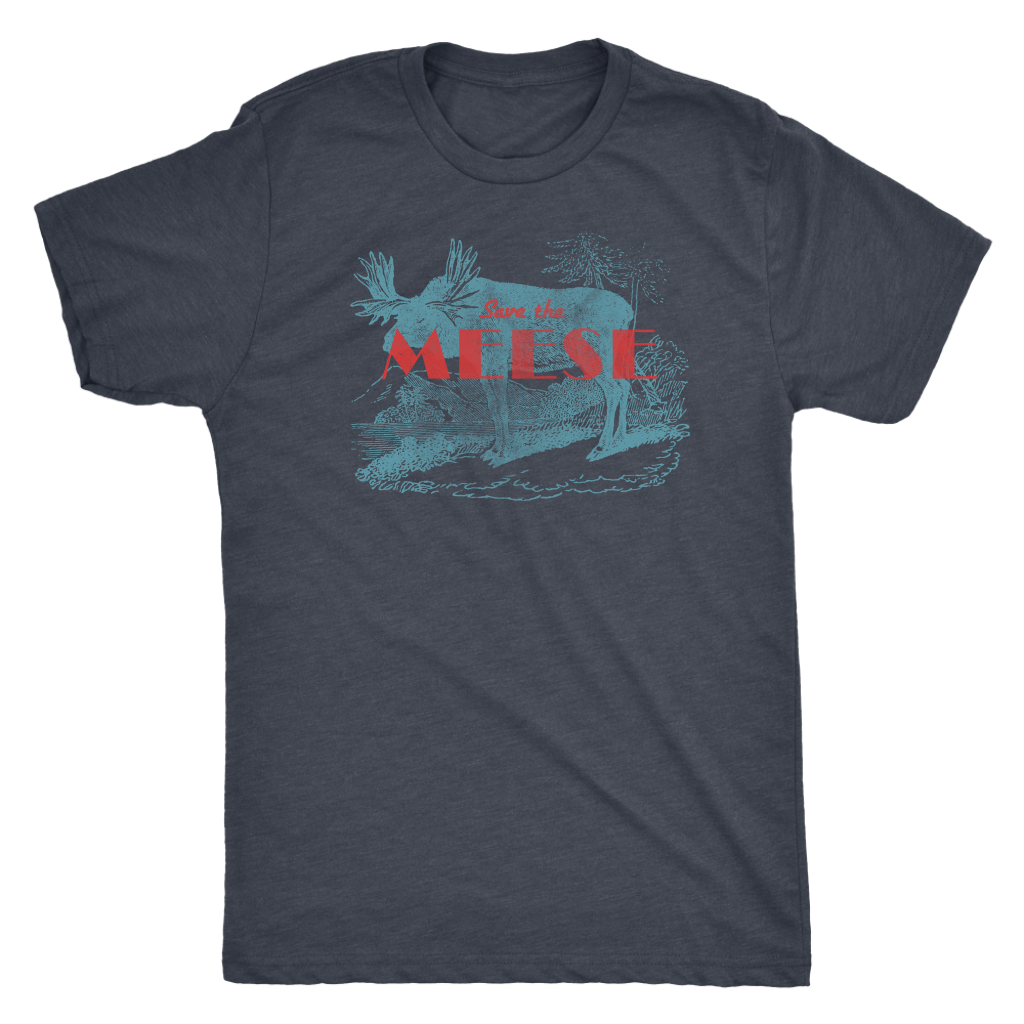 Save the Meese - Men's Ultra Soft Comfort Short Sleeve Tee - Moose T-shirt for Him - Island Dog T-Shirt Company