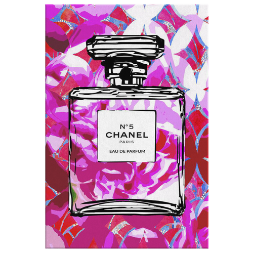 Coco Chanel No 5 Perfume Wrapped Canvas Boho Satement Art over Fuchsia Fans - NEW - Island Dog T-Shirt Company
