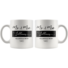 Personalized Coffee Mug - Mr & Mrs Mugs - Choose Your Last Name and Year - 2 Mug Set - Island Dog T-Shirt Company