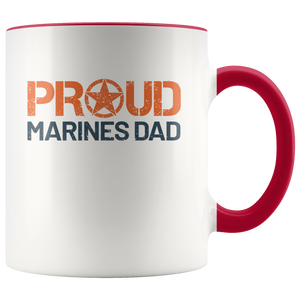 Proud Dad of a Marine 11 oz 2-Color Coffee Mug for Corpsman's Father - Island Dog T-Shirt Company