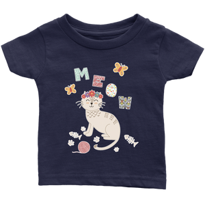 Meow Cat Shirt for Infants - Baby Sizes 6M, 12M, 18M and 24M - Island Dog T-Shirt Company