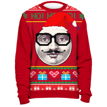 Ugly Christmas Sweater Shirt - Funny Hipster Man on the Moon Tacky Xmas Novelty Tee - Island Dog T-Shirt Company