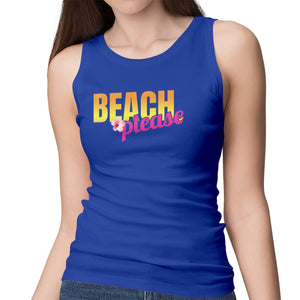 Beach Please - Women's Racerback Summer Beach & Vacation Tee - Funny Graphic Vacay Tee - Graphic Casual Ladie's Tee - Gym Tank - Yoga Shirt - Island Dog T-Shirt Company