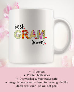 Presents for Grandma - World's Best Gram Ever Coffee Mugs - Grandmother Cup - Island Dog T-Shirt Company
