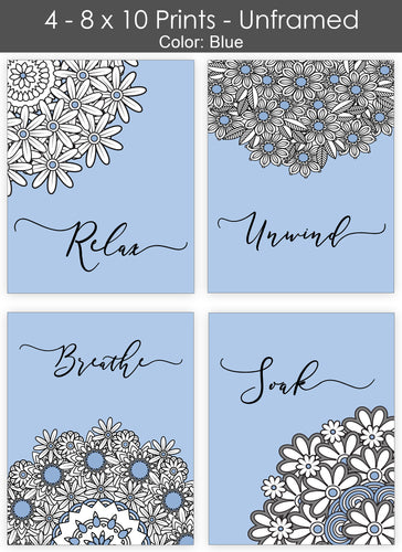 Bath Flowers Wall Art - Bathroom Quotes - Set of Four 8 x 10 Photos - 7 Colors to Choose From - Island Dog T-Shirt Company