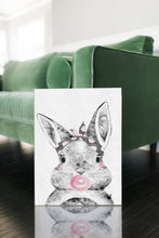 Woodland Babies Decor - Woodland Bunny GIRL with Bubblegum & Bandana - WRAPPED CANVAS - Island Dog T-Shirt Company