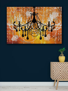 Glam Wall Decor for Women - Shabby Chic Wall Decor - Vintage Chandelier over Gold - Island Dog T-Shirt Company