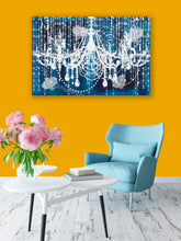 Glam Wall Decor for Women - Shabby Chic Wall Decor - Vintage Chandelier over Indigo Blue - Island Dog T-Shirt Company