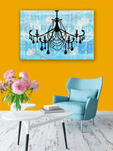 Glam Wall Decor for Women - Shabby Chic Wall Decor - Vintage Chandelier over Watercolor Blue - Island Dog T-Shirt Company