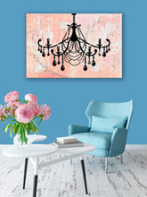 Glam Wall Decor for Women - Shabby Chic Wall Decor - Vintage Chandelier over Watercolor Peach - Island Dog T-Shirt Company