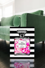 Coco Chanel No 5 Perfume Wrapped Canvas Boho Art - Bottled Peony Blossoms Over Black & White Stripes - Island Dog T-Shirt Company