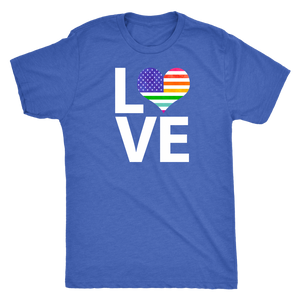 LGBTQ - Rainbow Pride US Flag LOVE - Vintage Distressed Men's Short Sleeve Comfort Tee - Island Dog T-Shirt Company