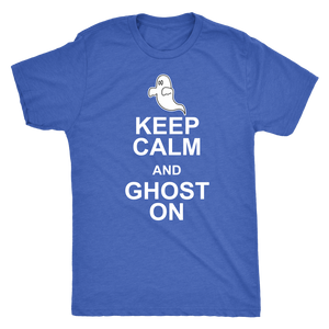 Keep Calm and Ghost On - Funny Men's Ghostly Halloween Tee for Guys - Island Dog T-Shirt Company