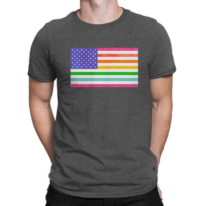 LGBTQ - Rainbow Pride US Flag - Vintage Distressed Men's Short Sleeve Comfort Tee - Island Dog T-Shirt Company
