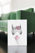 Woodland Babies Decor - Woodland Llama GIRL with Bubblegum & Bandana - WRAPPED CANVAS - Island Dog T-Shirt Company