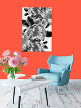 Room Decor for Women - Glam Decor - Black and White Home Decor - Flower Painting - Peony Fall - Island Dog T-Shirt Company