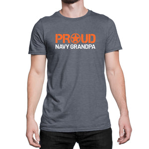 Proud Navy Grandpa T-Shirt - Men's Ultra Soft Short Sleeve Military Grandfather Tee - Island Dog T-Shirt Company