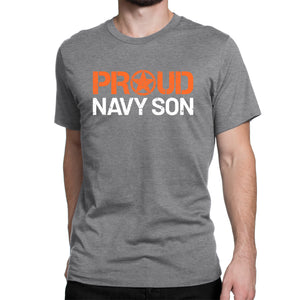 Proud Navy Son - Men's Ultra Soft Comfort Short Sleeve Tee - Son's Military Pride Shirt for His Mom or Dad - Island Dog T-Shirt Company