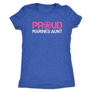 Proud Aunt of a Marine - Women's Ultra Soft Comfort Short Sleeve Tee - Aunt's Military Pride Shirt - Island Dog T-Shirt Company