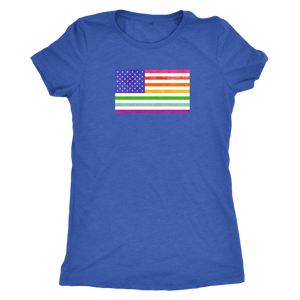 LGBTQ - Rainbow Pride US Flag - Vintage Distressed Women's Short Sleeve Comfort Tee - Island Dog T-Shirt Company