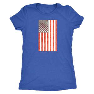 American Flag - Vintage Distressed US Flag - Women's Short Sleeve Ultra Comfort Tee - Island Dog T-Shirt Company