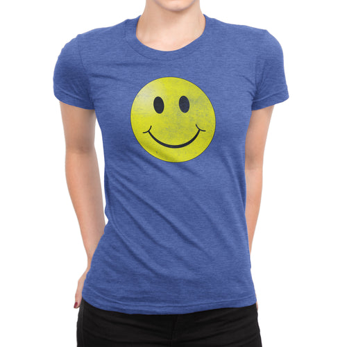 Smiley Face Vintage Tee - Ladies' Short Sleeve Ultra Comfort Distressed Triblend Happy T-Shirt - Island Dog T-Shirt Company