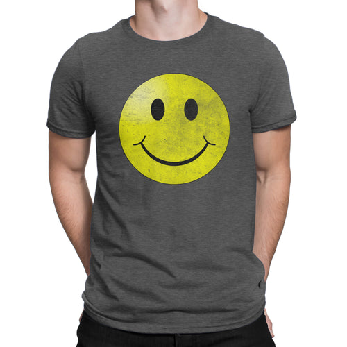 Smiley Face Vintage Tee - Guy's Hipster Short Sleeve Ultra Comfort Distressed Triblend Happy T-Shirt - Island Dog T-Shirt Company