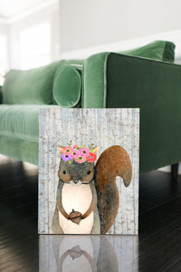 Woodland Nursery Decor for Girls - Girl Nursery Decor - Canvas Wall Art for Nursery - 5 Sizes - Floral Nursery Woodland Squirrel with Wreath over Birch Trees - Island Dog T-Shirt Company