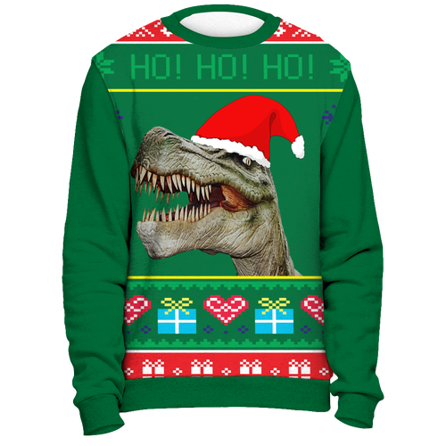 Ugly Christmas Sweater Shirt - Funny Trex Santa Tacky Xmas Novelty Tee - Island Dog T-Shirt Company