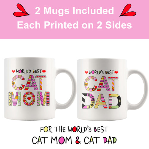 Cat Mom Mugs & Cat Dad Mugs - 2 Mugs for Cat Parents - Island Dog T-Shirt Company