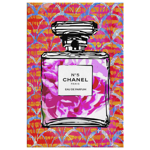 Coco Chanel No 5 Perfume Wrapped Canvas Boho Satement Art over Coral Ginkgo Fans - NEW - Island Dog T-Shirt Company