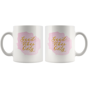 Good Vibes Only Coffee Mug for Women - Pretty Pink & Gold Cup - Island Dog T-Shirt Company