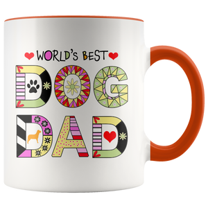 Worlds Best Dog Dad Mug - Fur Baby Daddy Coffee Mug for Men - Best Dog Father Ever with Accent Colors - Island Dog T-Shirt Company