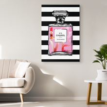 Love in a Bottle Chanel Perfume No 5 Wrapped Canvas Wall Art - Bedroom Decor for Women - Island Dog T-Shirt Company