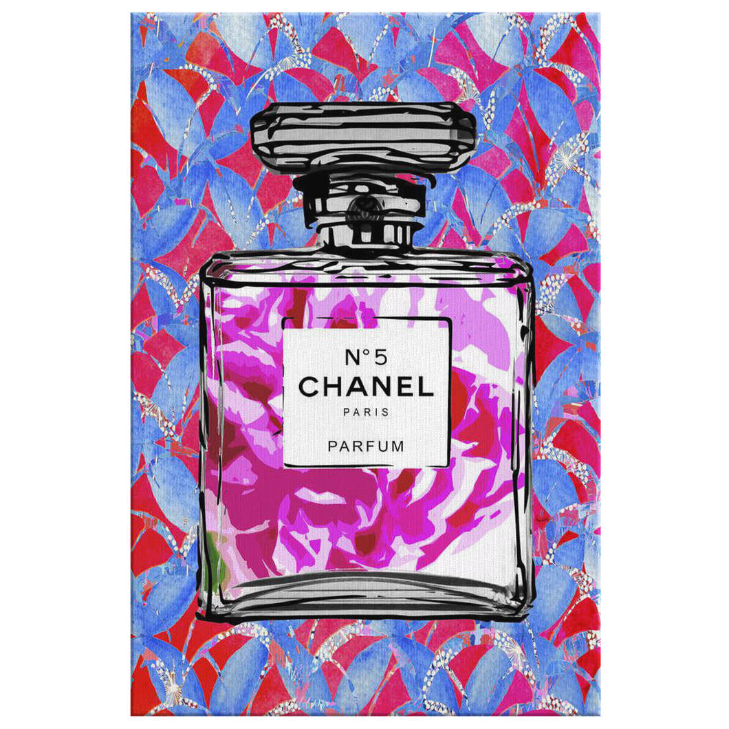 Coco Chanel No 5 Perfume Wrapped Canvas Boho Satement Art over Hot Pink Ginkgo - Island Dog T-Shirt Company