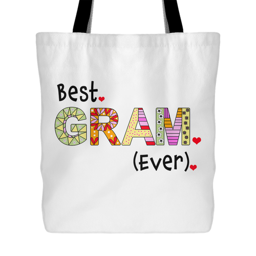 Best Gram Ever - Gift Idea for Grandmother - Reusable Shopping Tote Bag - Island Dog T-Shirt Company