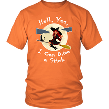 Hell Yes I Can Drive a Stick - Funny Witch & Black Cat Halloween Tee - Island Dog T-Shirt Company
