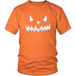 Scary Evil Pumpkin Face Halloween T Shirt for Men & Women - Island Dog T-Shirt Company