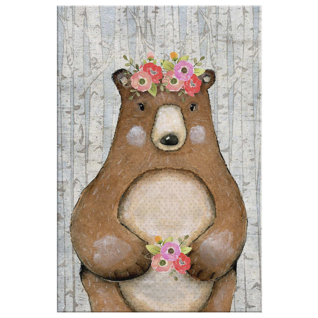 Woodland Nursery Decor for Girls - Girl Nursery Decor - Canvas Wall Art for Nursery - 5 Sizes - Floral Nursery Woodland Bear with Wreath over Birch Trees - Island Dog T-Shirt Company