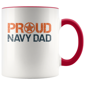 Proud Navy Dad - US Navy - United States Navy - 11 oz 2-Color Coffee Mug for Sailor's Father - Island Dog T-Shirt Company