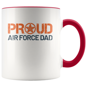 Proud Air Force Dad - USAF - United States Air Force - 11 oz 2-Color Coffee Mug for Airman's Father - Island Dog T-Shirt Company