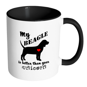 My Beagle is Better Than Your Unicorn Coffee Mug with Accent Handle - Island Dog T-Shirt Company