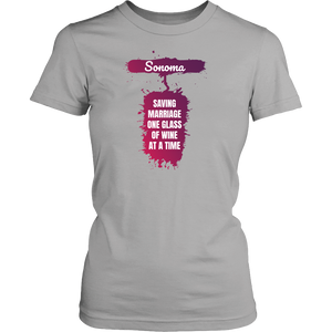 Sonoma - Saving Marriage One Glass at a Time - California Wine Lover Shirt - Island Dog T-Shirt Company
