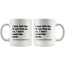 I Lost 200 Pounds Funny and Sarcastic Break Up and Divorce Coffee Mug for Women - Island Dog T-Shirt Company