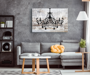Glam Wall Decor for Women - Shabby Chic Wall Decor - Vintage Chandelier over Barnwood - Island Dog T-Shirt Company