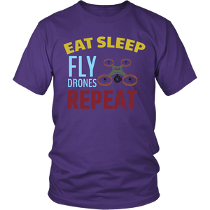 Eat Sleep Fly Drones Repeat - Drone Pilot Hobbyist T-Shirt - Island Dog T-Shirt Company